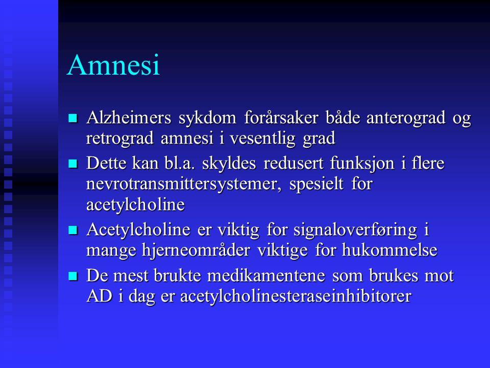 Alzheimers sykdom forårsaker både anterograd og retrograd amnesi i vesentlig grad Alzheimers sykdom forårsaker både anterograd og retrograd amnesi i v