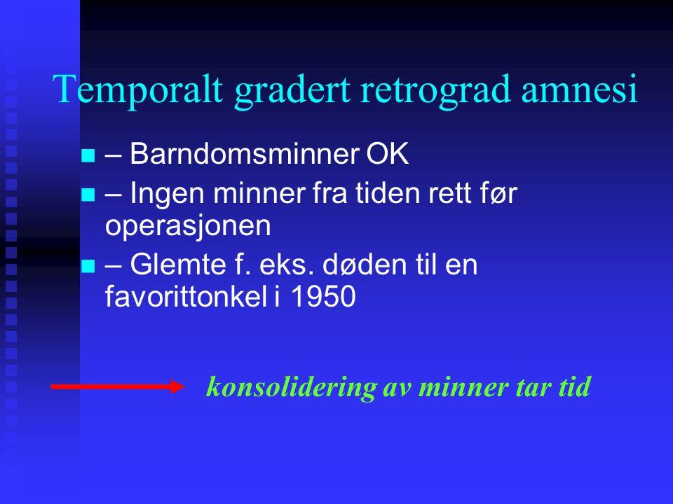 Temporalt gradert retrograd amnesi – Barndomsminner OK – Ingen minner fra tiden rett før operasjonen – Glemte f. eks. døden til en favorittonkel i 195