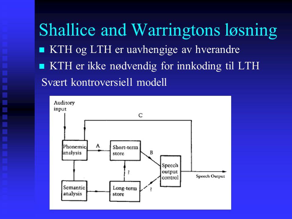 Shallice and Warringtons løsning KTH og LTH er uavhengige av hverandre KTH er ikke nødvendig for innkoding til LTH Svært kontroversiell modell