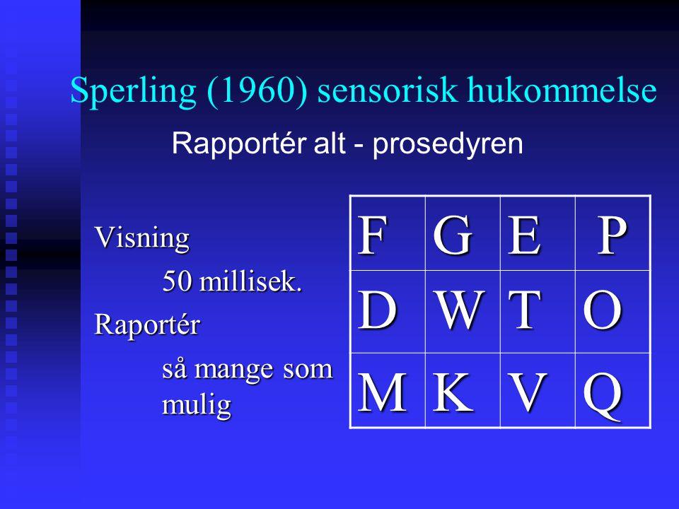 Sperling (1960) sensorisk hukommelse Visning 50 millisek. Raportér så mange som mulig FGEP DWTO MKVQ Rapportér alt - prosedyren