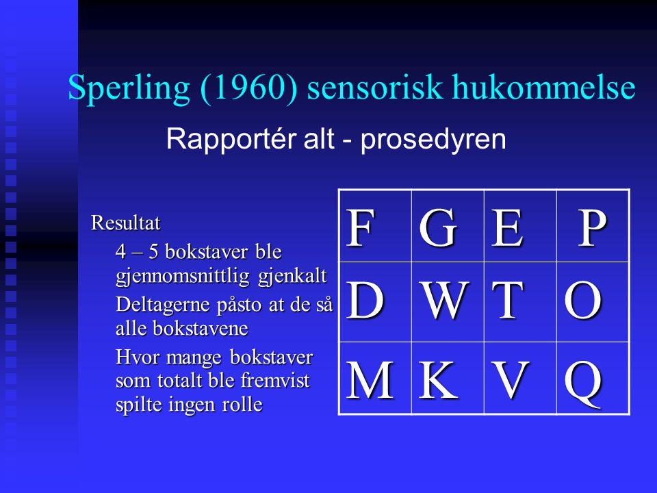 Resultat 4 – 5 bokstaver ble gjennomsnittlig gjenkalt Deltagerne påsto at de så alle bokstavene Hvor mange bokstaver som totalt ble fremvist spilte in