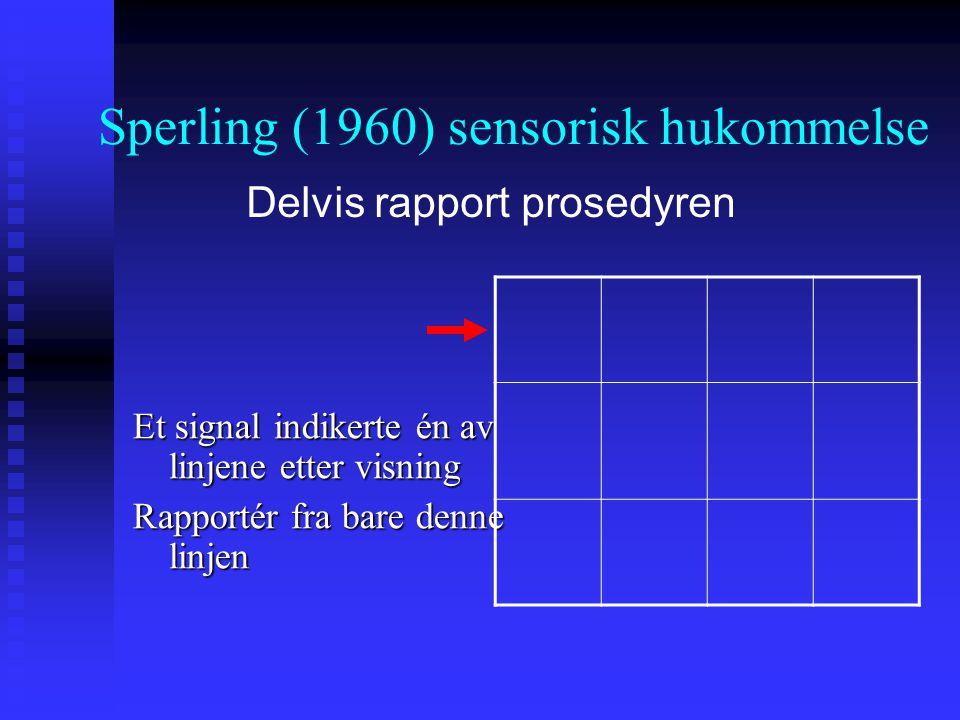 Et signal indikerte én av linjene etter visning Rapportér fra bare denne linjen Sperling (1960) sensorisk hukommelse Delvis rapport prosedyren