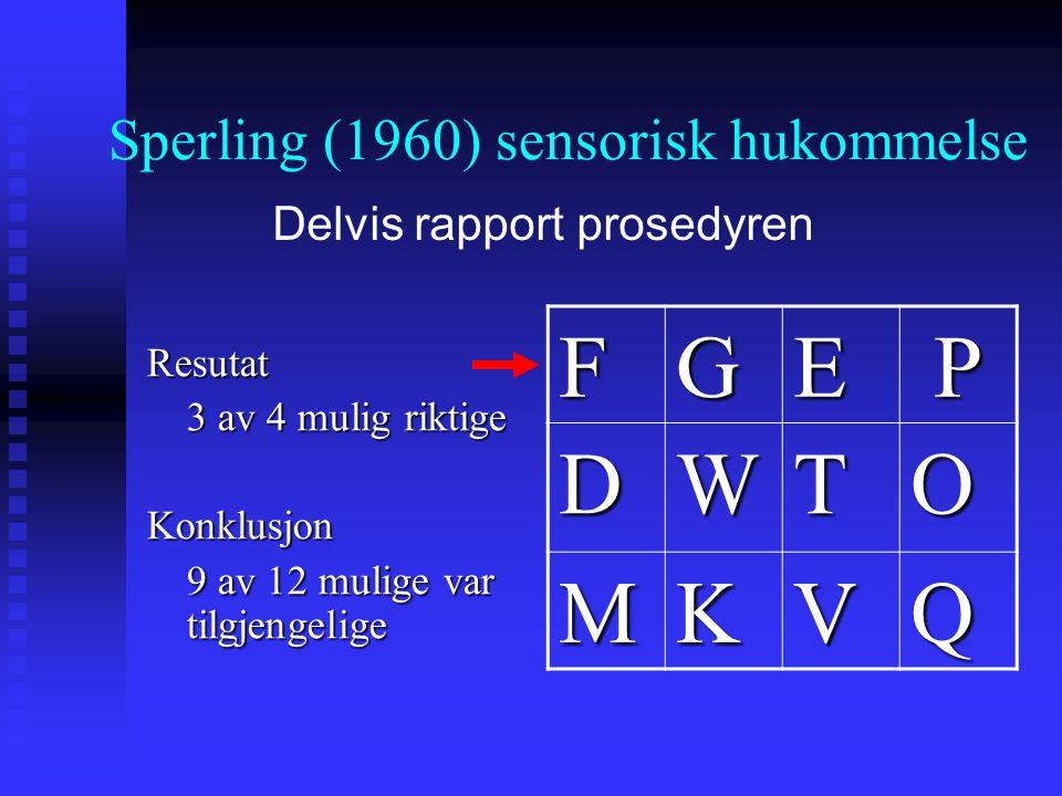 Resutat 3 av 4 mulig riktige Konklusjon 9 av 12 mulige var tilgjengelige FGEP DWTO MKVQ Sperling (1960) sensorisk hukommelse Delvis rapport prosedyren