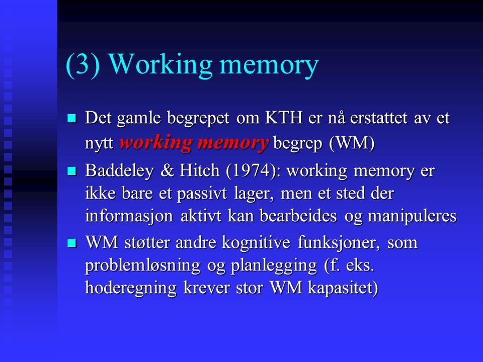 (3) Working memory Det gamle begrepet om KTH er nå erstattet av et nytt working memory begrep (WM) Det gamle begrepet om KTH er nå erstattet av et nyt
