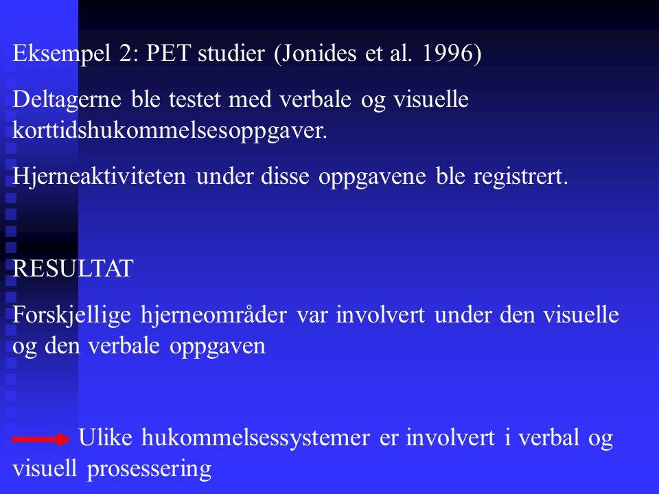 Eksempel 2: PET studier (Jonides et al. 1996) Deltagerne ble testet med verbale og visuelle korttidshukommelsesoppgaver. Hjerneaktiviteten under disse