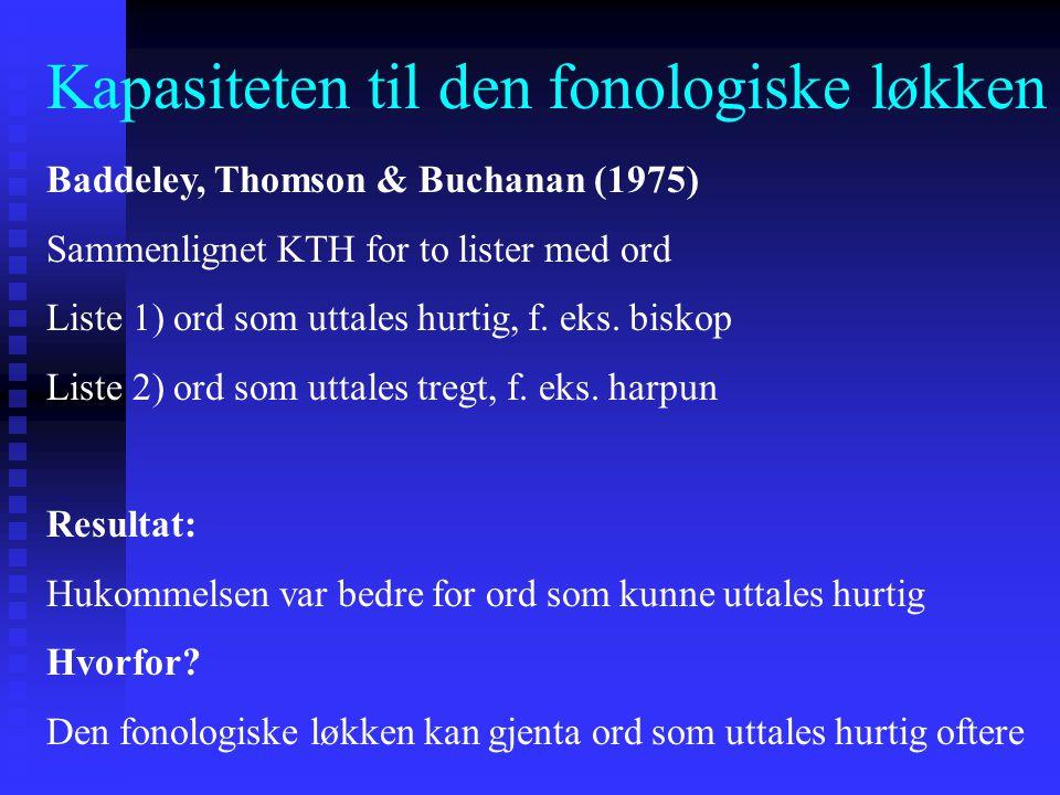 Kapasiteten til den fonologiske løkken Baddeley, Thomson & Buchanan (1975) Sammenlignet KTH for to lister med ord Liste 1) ord som uttales hurtig, f.