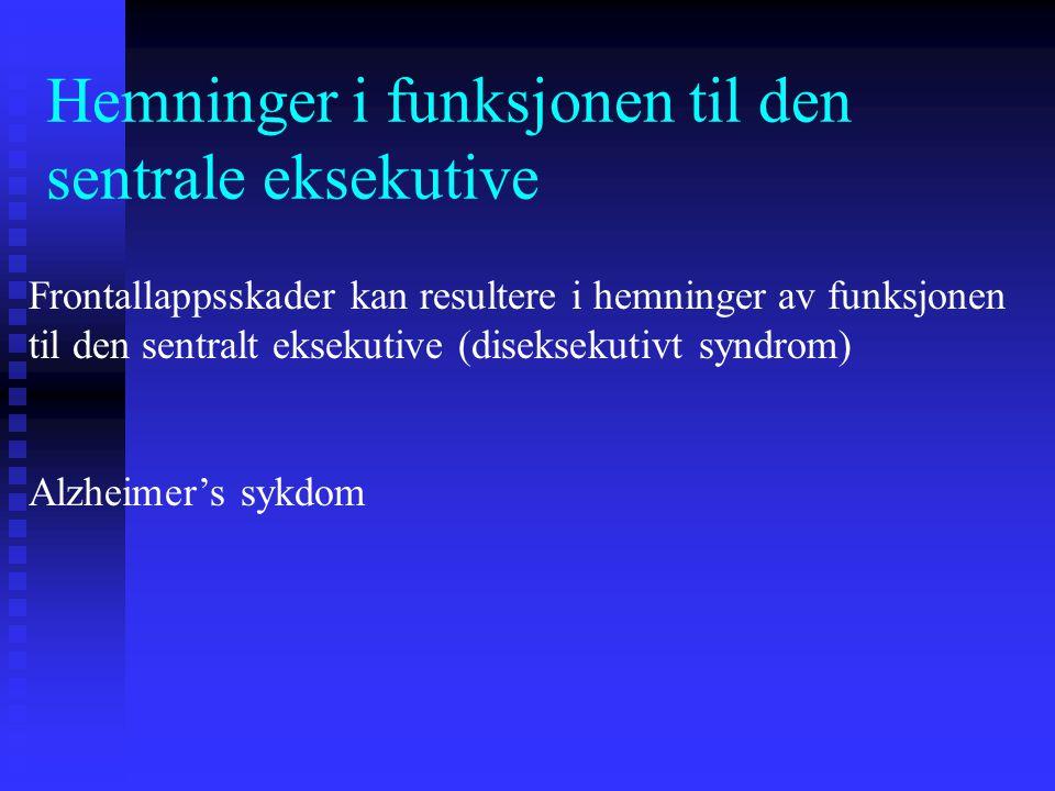 Hemninger i funksjonen til den sentrale eksekutive Frontallappsskader kan resultere i hemninger av funksjonen til den sentralt eksekutive (diseksekuti