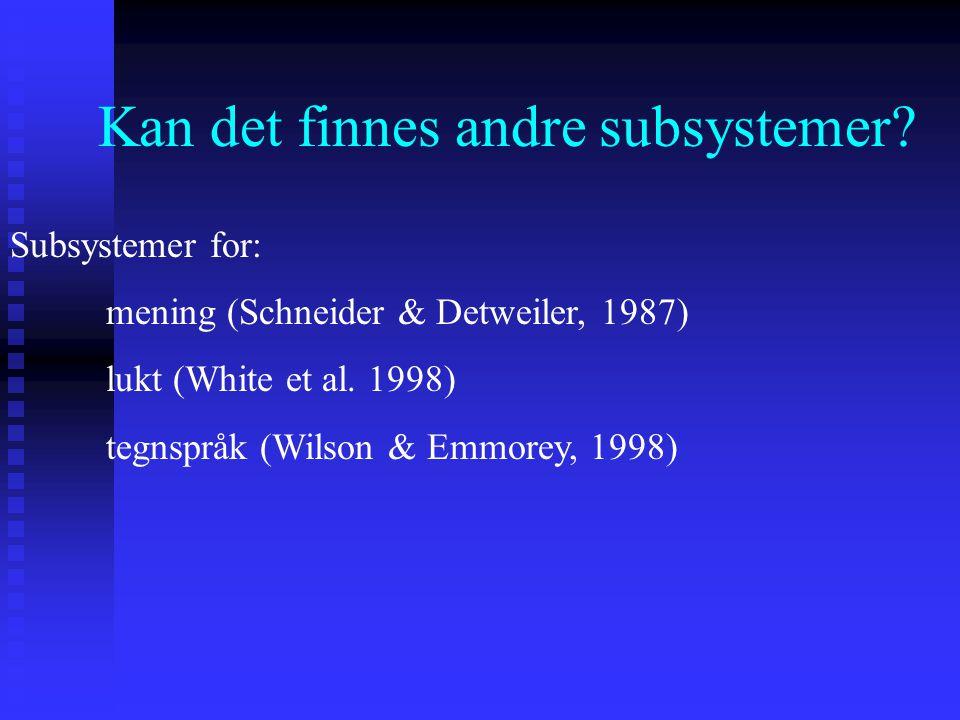 Kan det finnes andre subsystemer? Subsystemer for: mening (Schneider & Detweiler, 1987) lukt (White et al. 1998) tegnspråk (Wilson & Emmorey, 1998)