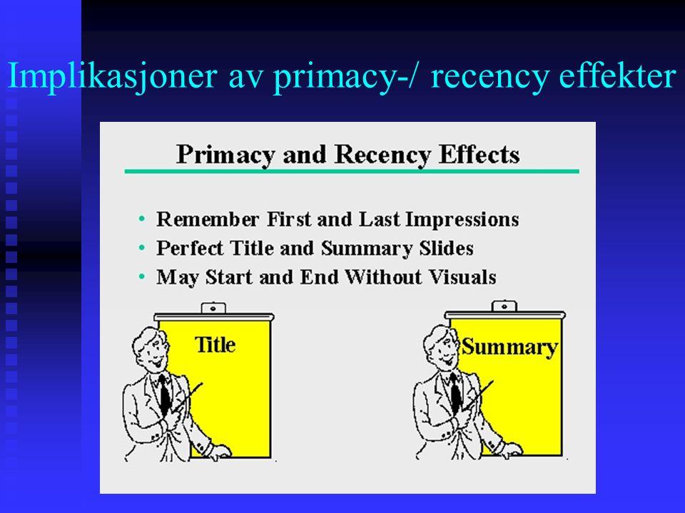 Implikasjoner av primacy-/ recency effekter