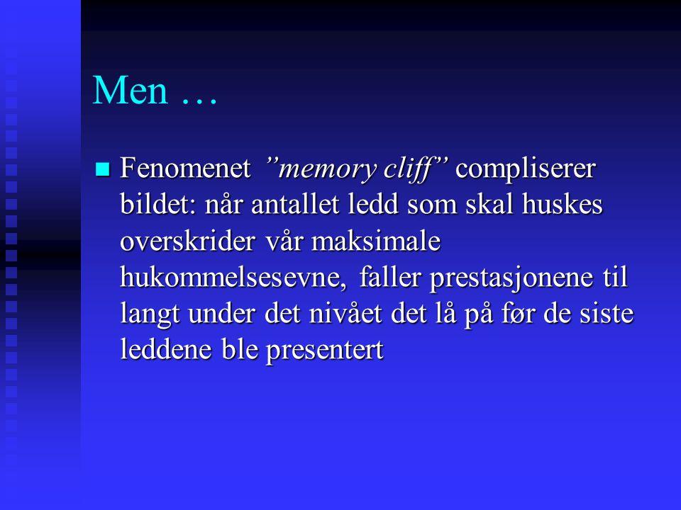 """Men … Fenomenet """"memory cliff"""" compliserer bildet: når antallet ledd som skal huskes overskrider vår maksimale hukommelsesevne, faller prestasjonene t"""