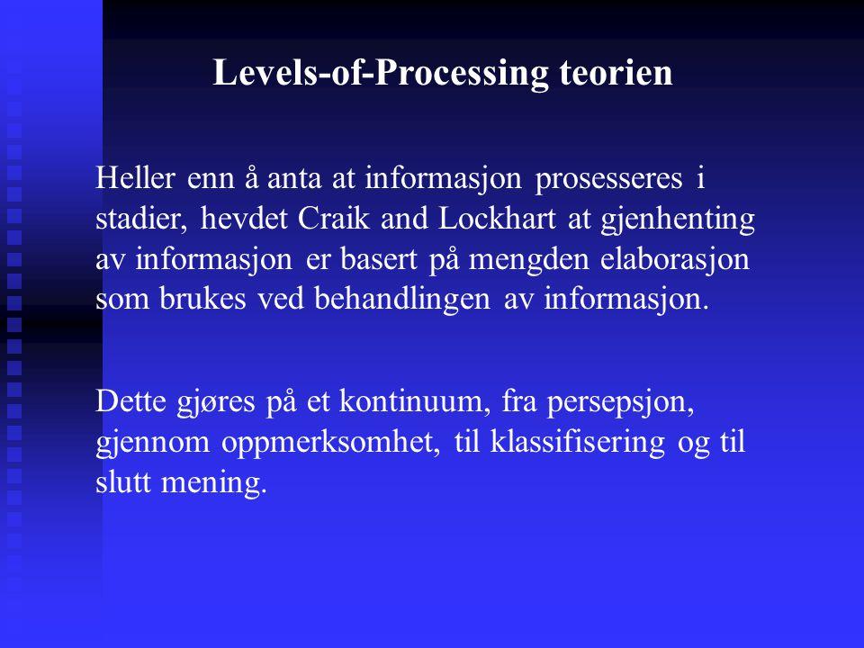 Heller enn å anta at informasjon prosesseres i stadier, hevdet Craik and Lockhart at gjenhenting av informasjon er basert på mengden elaborasjon som b