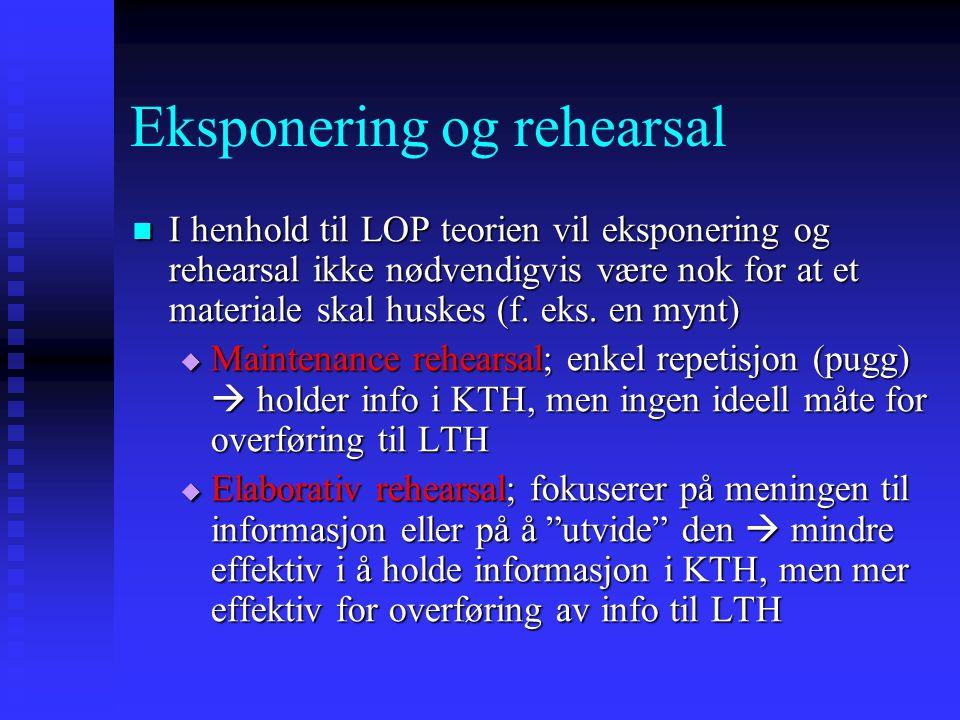 Eksponering og rehearsal I henhold til LOP teorien vil eksponering og rehearsal ikke nødvendigvis være nok for at et materiale skal huskes (f. eks. en