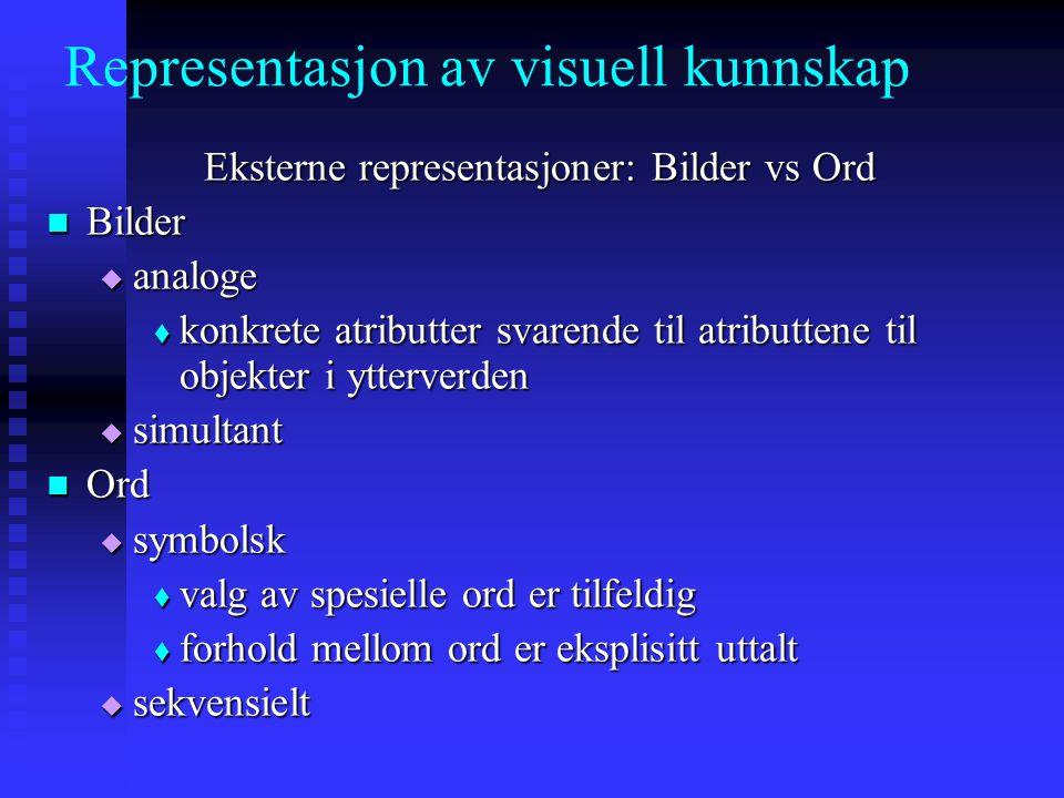 Representasjon av visuell kunnskap Eksterne representasjoner: Bilder vs Ord Bilder Bilder  analoge  konkrete atributter svarende til atributtene til