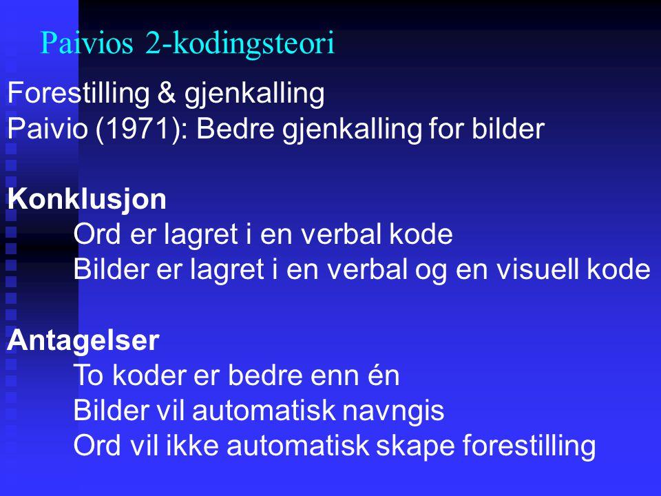 Forestilling & gjenkalling Paivio (1971): Bedre gjenkalling for bilder Konklusjon Ord er lagret i en verbal kode Bilder er lagret i en verbal og en vi