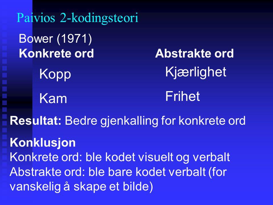 Bower (1971) Konkrete ord Abstrakte ord Kopp Kam Kjærlighet Frihet Resultat: Bedre gjenkalling for konkrete ord Konklusjon Konkrete ord: ble kodet vis