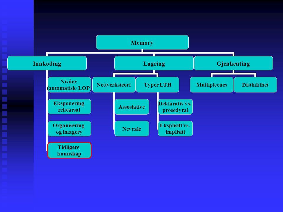 Memory Innkoding Nivåer (automatisk/ LOP) Eksponering rehearsal Organisering og imagery Tidligere kunnskap Lagring Nettverksteori Assosiative Nevrale