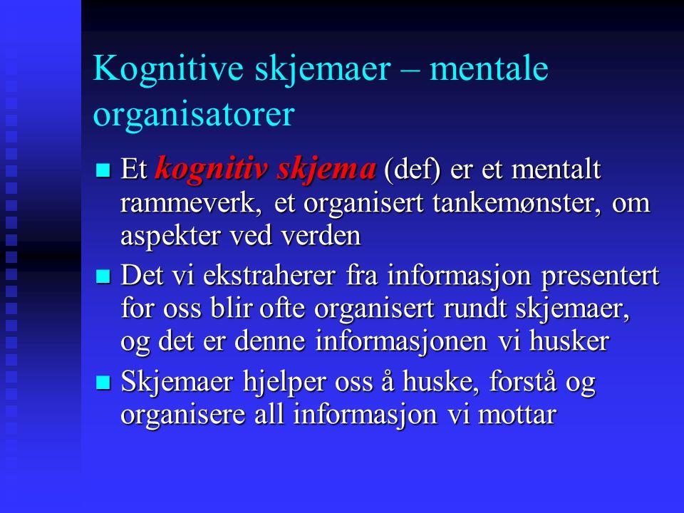 Kognitive skjemaer – mentale organisatorer Et kognitiv skjema (def) er et mentalt rammeverk, et organisert tankemønster, om aspekter ved verden Et kog