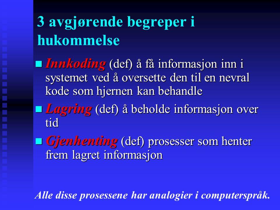 Innkoding (def) å få informasjon inn i systemet ved å oversette den til en nevral kode som hjernen kan behandle Innkoding (def) å få informasjon inn i