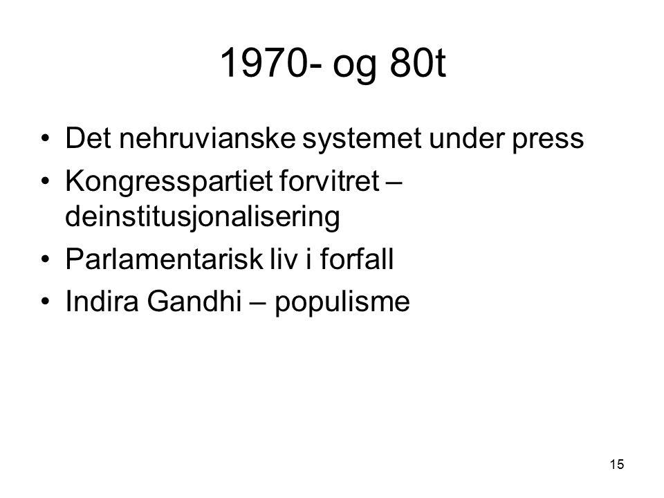 15 1970- og 80t Det nehruvianske systemet under press Kongresspartiet forvitret – deinstitusjonalisering Parlamentarisk liv i forfall Indira Gandhi –