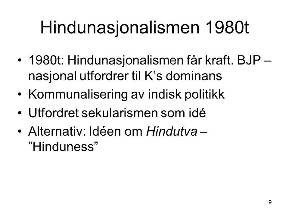 19 Hindunasjonalismen 1980t 1980t: Hindunasjonalismen får kraft. BJP – nasjonal utfordrer til K's dominans Kommunalisering av indisk politikk Utfordre
