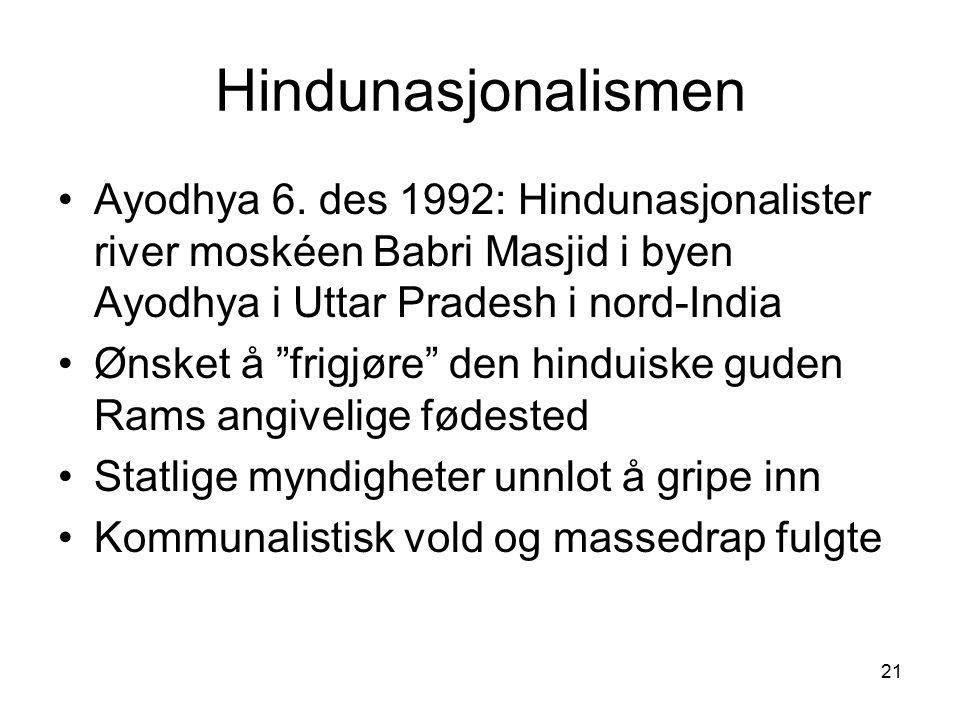 "21 Hindunasjonalismen Ayodhya 6. des 1992: Hindunasjonalister river moskéen Babri Masjid i byen Ayodhya i Uttar Pradesh i nord-India Ønsket å ""frigjør"