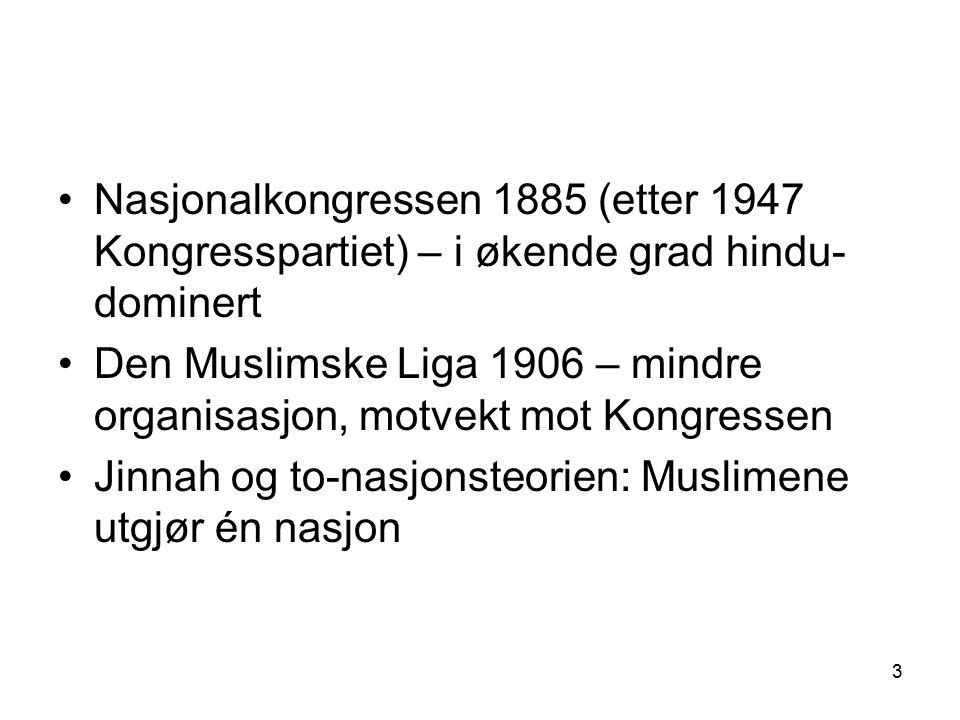 3 Nasjonalkongressen 1885 (etter 1947 Kongresspartiet) – i økende grad hindu- dominert Den Muslimske Liga 1906 – mindre organisasjon, motvekt mot Kong