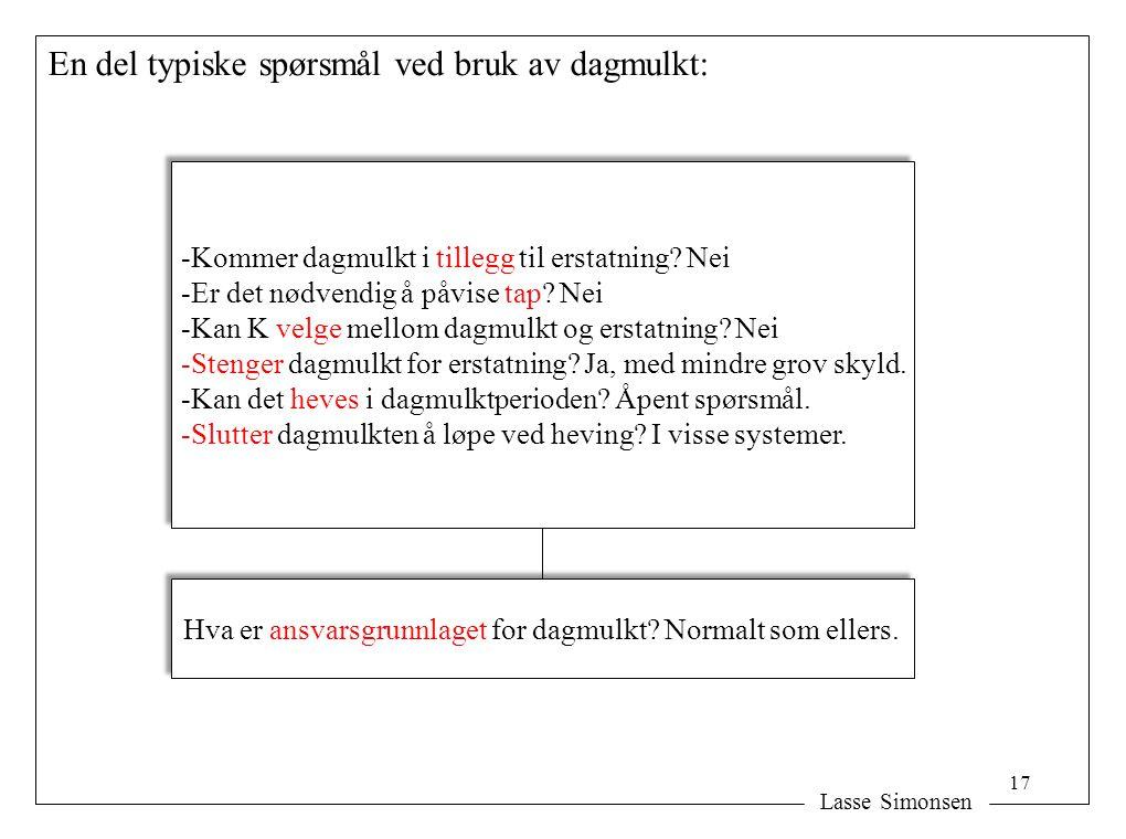 Lasse Simonsen En del typiske spørsmål ved bruk av dagmulkt: Hva er ansvarsgrunnlaget for dagmulkt? Normalt som ellers. -Kommer dagmulkt i tillegg til