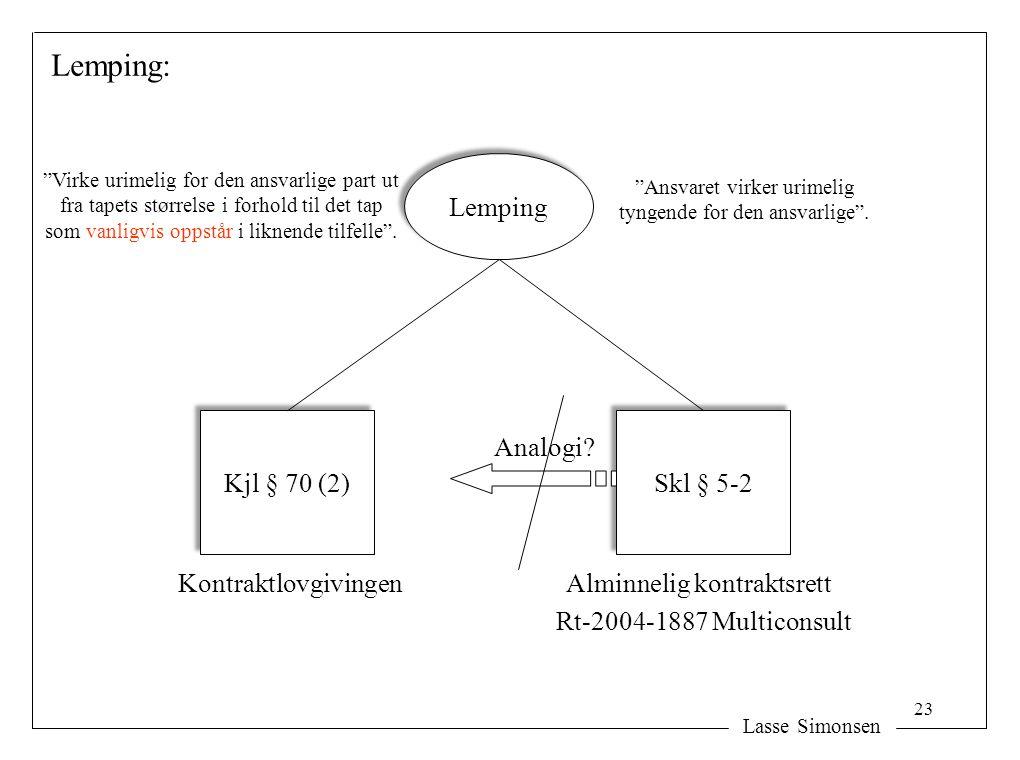 """Lasse Simonsen Lemping: Lemping Kjl § 70 (2) Skl § 5-2 KontraktlovgivingenAlminnelig kontraktsrett Rt-2004-1887 Multiconsult Analogi? """"Ansvaret virker"""