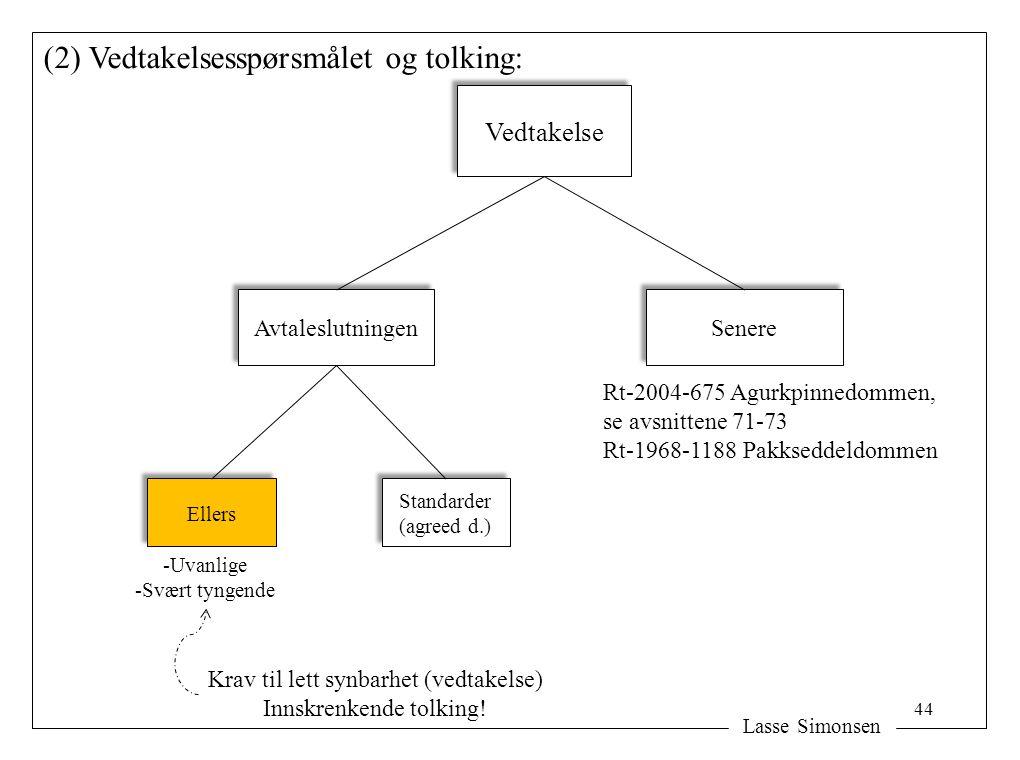 Lasse Simonsen (2) Vedtakelsesspørsmålet og tolking: Vedtakelse Avtaleslutningen Senere Rt-2004-675 Agurkpinnedommen, se avsnittene 71-73 Rt-1968-1188