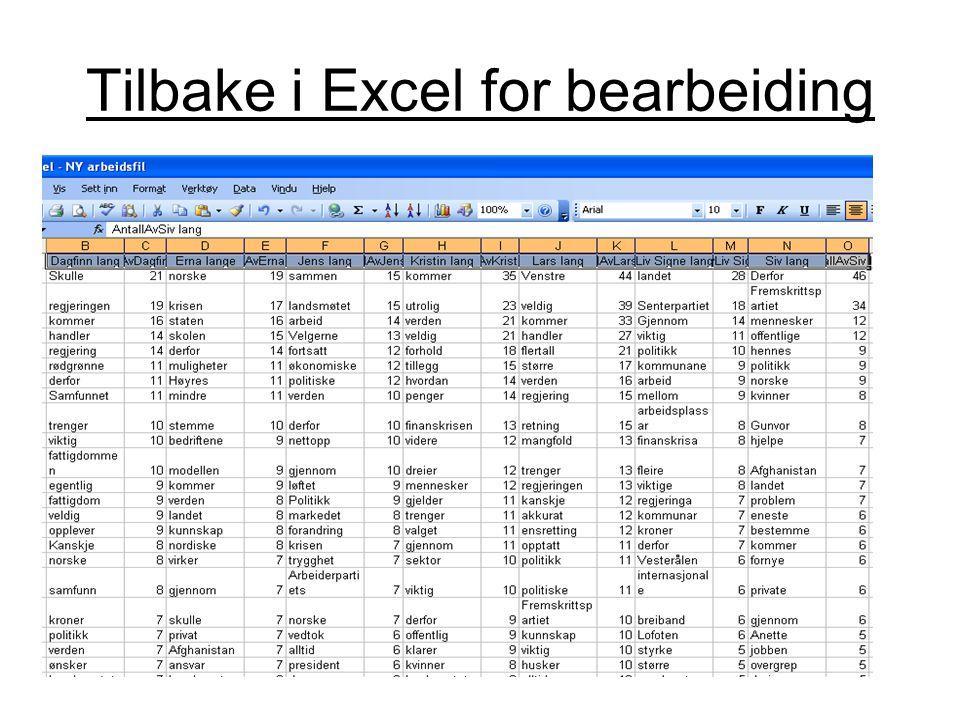 Tilbake i Excel for bearbeiding