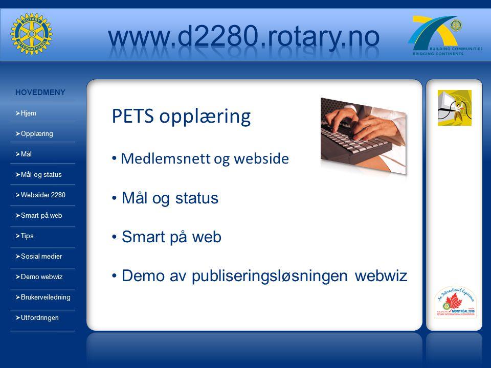 PETS opplæring Medlemsnett og webside Mål og status Smart på web Demo av publiseringsløsningen webwiz HOVEDMENY  Hjem  Opplæring  Mål  Mål og stat