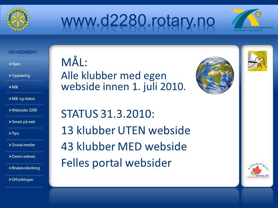 MÅL: Alle klubber med egen webside innen 1. juli 2010. STATUS 31.3.2010: 13 klubber UTEN webside 43 klubber MED webside Felles portal websider HOVEDME