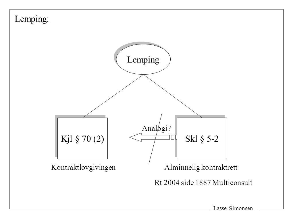 Lasse Simonsen Lemping: Lemping Kjl § 70 (2) Skl § 5-2 KontraktlovgivingenAlminnelig kontraktrett Rt 2004 side 1887 Multiconsult Analogi