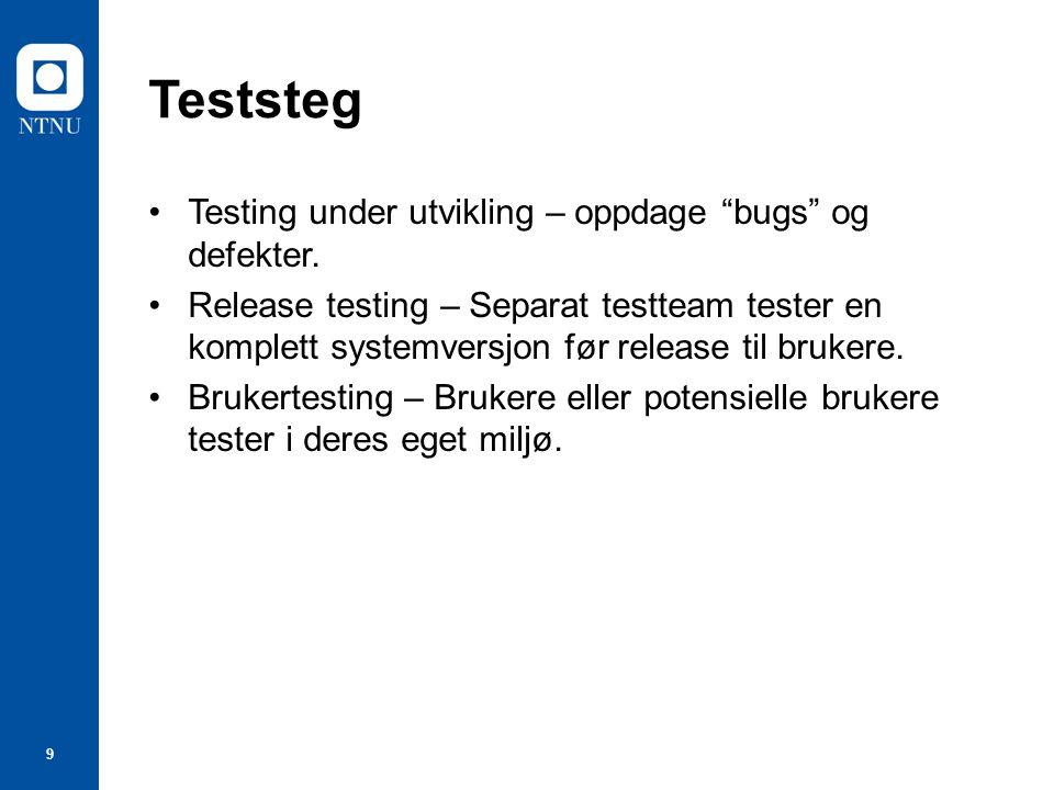 9 Teststeg Testing under utvikling – oppdage bugs og defekter.