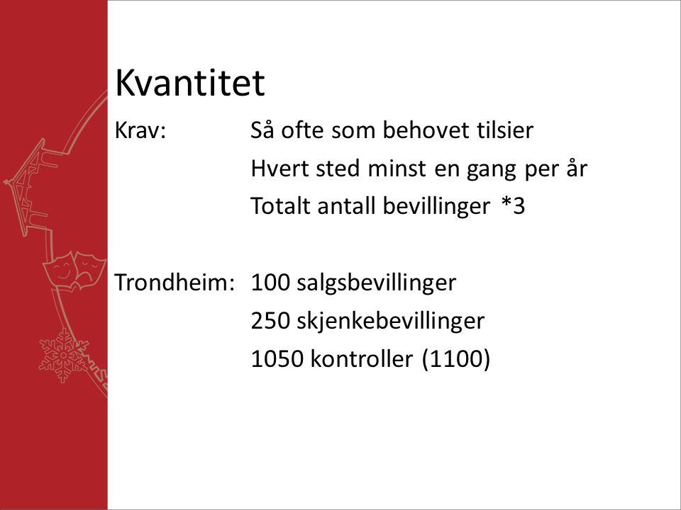 Kvantitet Krav:Så ofte som behovet tilsier Hvert sted minst en gang per år Totalt antall bevillinger *3 Trondheim:100 salgsbevillinger 250 skjenkebevillinger 1050 kontroller (1100)