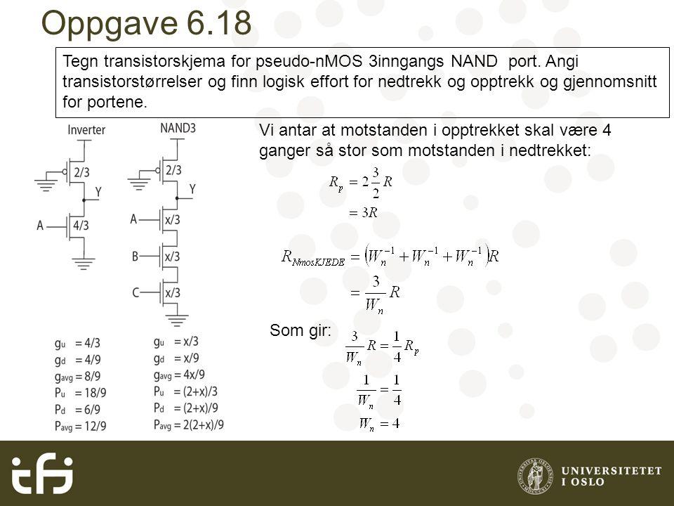Oppgave 6.18 Tegn transistorskjema for pseudo-nMOS 3inngangs NAND port.