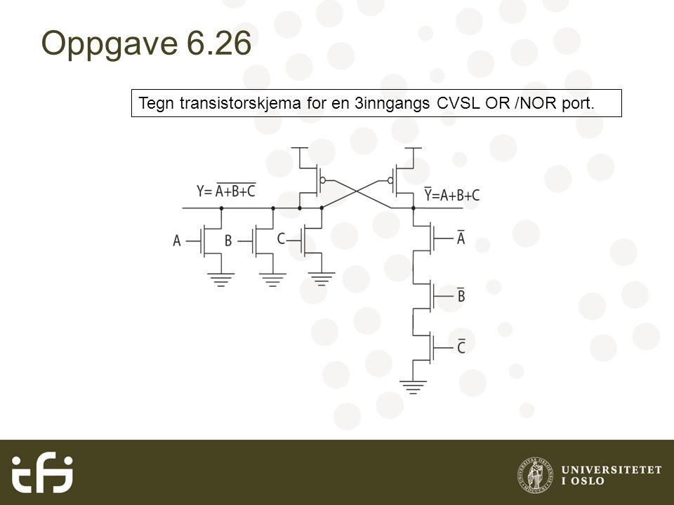 Oppgave 6.26 Tegn transistorskjema for en 3inngangs CVSL OR /NOR port.