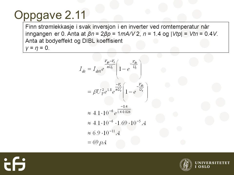 Oppgave 2.11 Finn strømlekkasje i svak inversjon i en inverter ved romtemperatur når inngangen er 0.