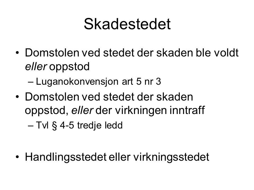 Lovvalg Norsk produsent kjøper komponenter for sin produksjon Selgeren bruker en underleverandør fra Tyskland for enkelte deler og monterer komponenten ved sitt anlegg i Sverige Komponenten levers til fabrikk i Norge Delene fra underleverandøren hadde mangler.