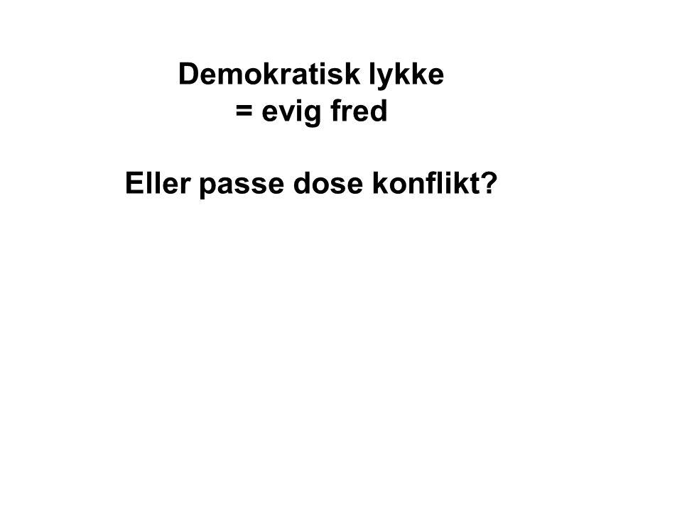 Demokratisk lykke = evig fred Eller passe dose konflikt?