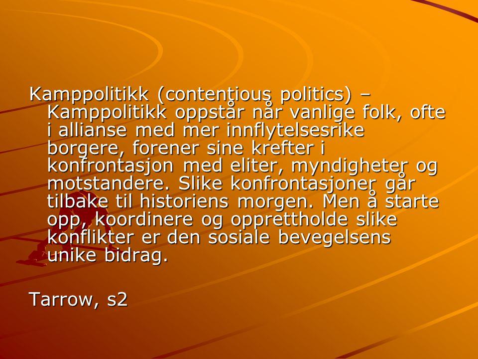 Kamppolitikk (contentious politics) – Kamppolitikk oppstår når vanlige folk, ofte i allianse med mer innflytelsesrike borgere, forener sine krefter i konfrontasjon med eliter, myndigheter og motstandere.
