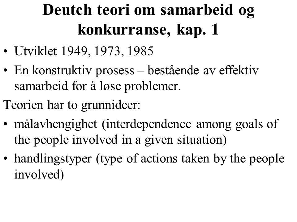 Deutch teori om samarbeid og konkurranse, kap.