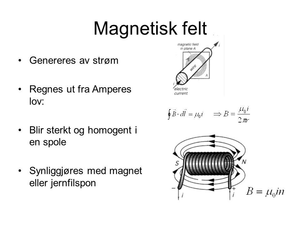Magnetisk felt Genereres av strøm Regnes ut fra Amperes lov: Blir sterkt og homogent i en spole Synliggjøres med magnet eller jernfilspon