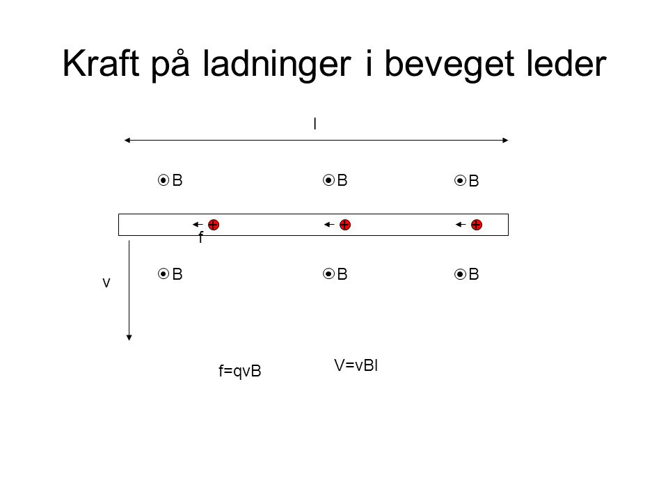 Kraft på ladninger i beveget leder +++ BB B BB B v f f=qvB V=vBl l