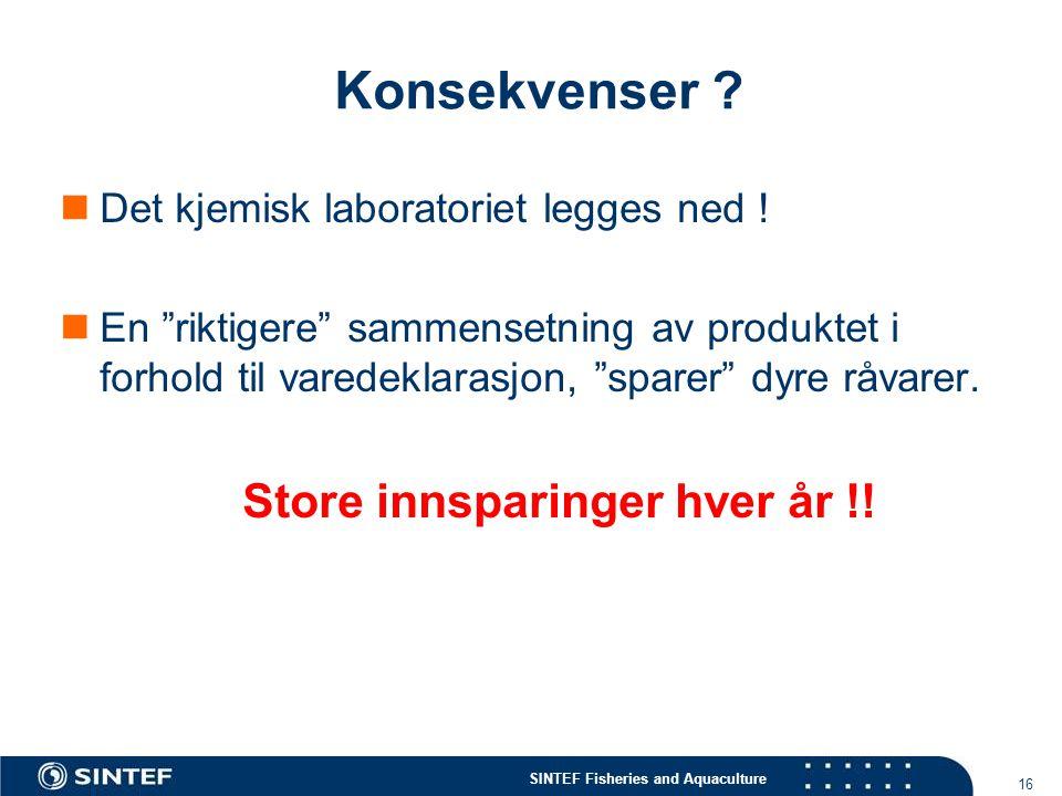 SINTEF Fisheries and Aquaculture 16 Konsekvenser .