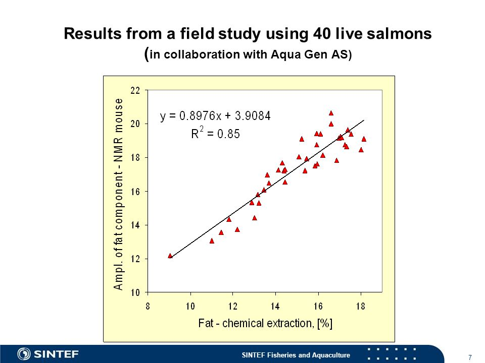 SINTEF Fisheries and Aquaculture 7 Results from a field study using 40 live salmons ( in collaboration with Aqua Gen AS)