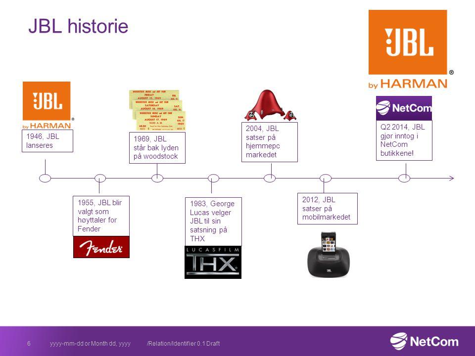 yyyy-mm-dd or Month dd, yyyy /Relation/Identifier 0.1 Draft6 JBL historie 1946, JBL lanseres 1955, JBL blir valgt som høyttaler for Fender 1969, JBL står bak lyden på woodstock 1983, George Lucas velger JBL til sin satsning på THX 2004, JBL satser på hjemmepc markedet 2012, JBL satser på mobilmarkedet Q2 2014, JBL gjør inntog i NetCom butikkene!