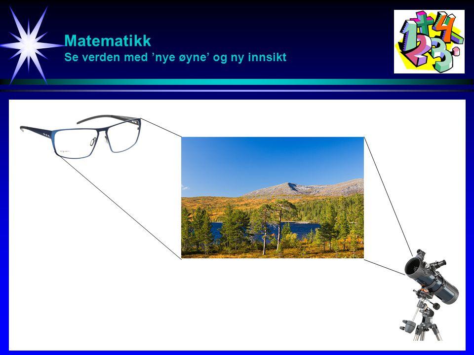 Matematikk Fjellklatring Å lære matematikk er som å drive fjellklatring: Klatreturen kan være strevsom, men du verden for en utsikt når vi kommer til toppen.