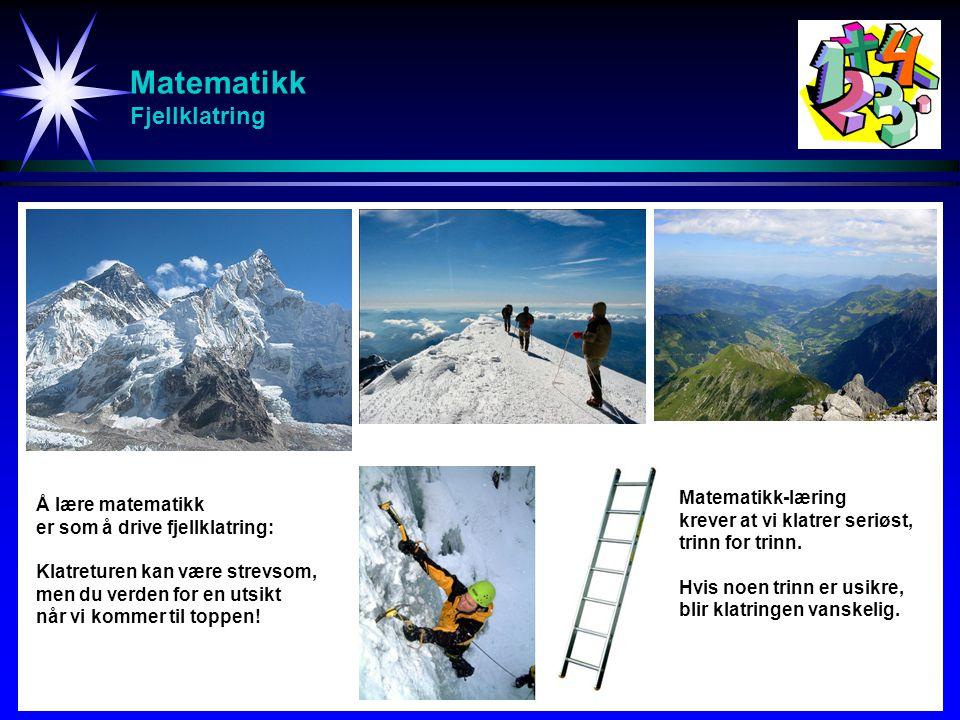 Matematikk Fjellklatring Å lære matematikk er som å drive fjellklatring: Klatreturen kan være strevsom, men du verden for en utsikt når vi kommer til