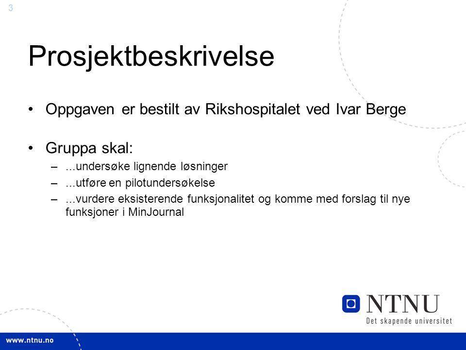 3 Prosjektbeskrivelse Oppgaven er bestilt av Rikshospitalet ved Ivar Berge Gruppa skal: –...undersøke lignende løsninger –...utføre en pilotundersøkelse –...vurdere eksisterende funksjonalitet og komme med forslag til nye funksjoner i MinJournal